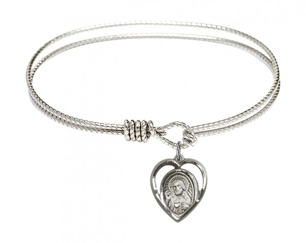 Cable Bangle Bracelet with a Scapular Charm - Silver