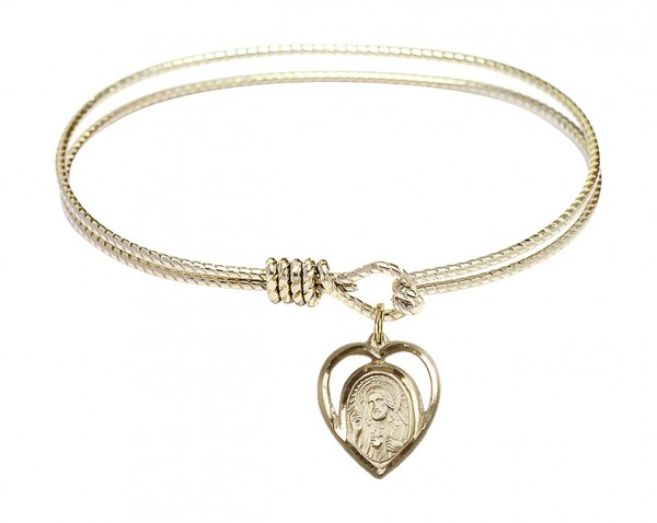 Cable Bangle Bracelet with a Scapular Charm - Gold