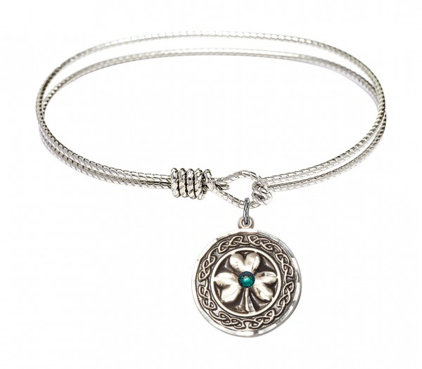 Cable Bangle Bracelet with a Shamrock with Celtic Border Charm - Green|Silver