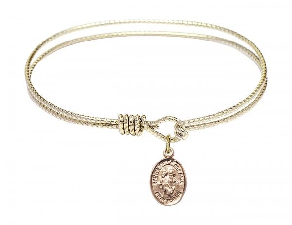 Cable Bangle Bracelet with a Sts. Peter & Paul Charm - Gold