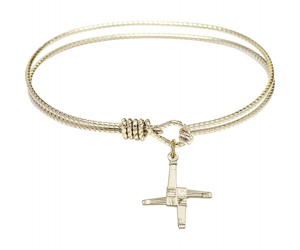 Cable Bangle Bracelet with a Textured Saint Brigid Cross Charm - Gold