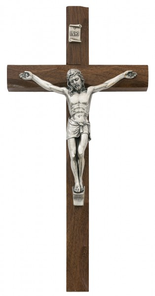 Carved Walnut Wall Crucifix, 10 Inch - Brown