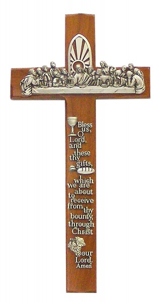 "Catholic Meal Prayer with Last Supper Plaque Pewter Finish 12"" - Brown"