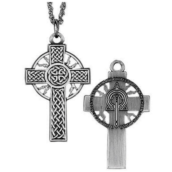 "Celtic Thunder & Lightning Cross Pendant - 1 1/2"" H - Antique Silver"