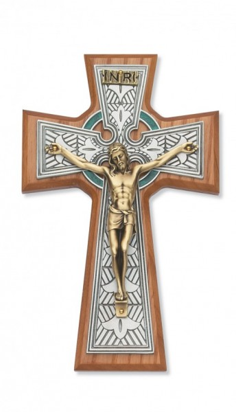 Celtic Wall Crucifix 8 inch - Two-Tone