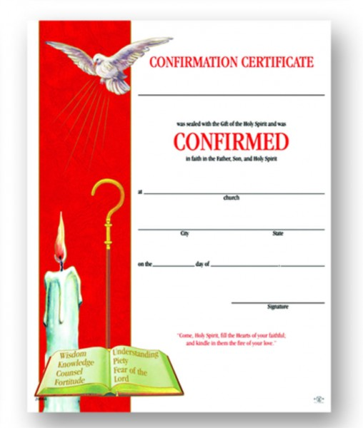 Certificate of Confirmation Red and White with Dove - Full Color