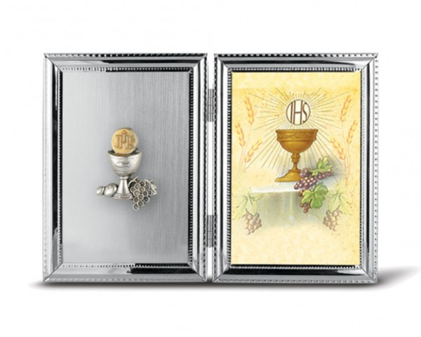 Chalice Silver Plated First Communion Photo Frame - Silver tone