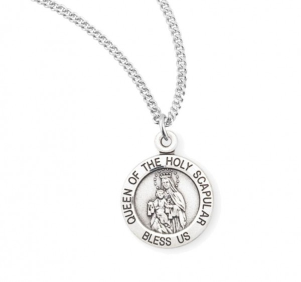 Charm Size Queen of the Holy Scapular Necklace - Sterling Silver