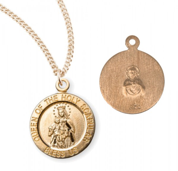 Charm Size Queen of the Holy Scapular Necklace - Gold Plated