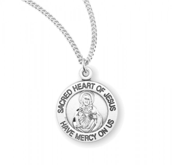 Charm Size Sacred Heart of Jesus Necklace - Sterling Silver
