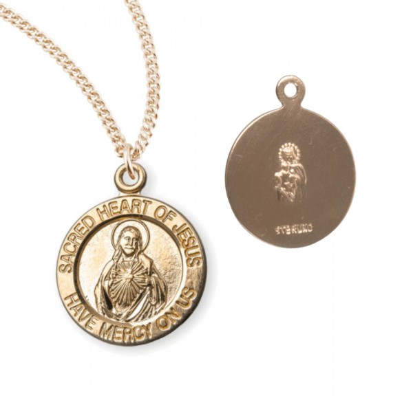 Charm Size Sacred Heart of Jesus Necklace - Gold Plated