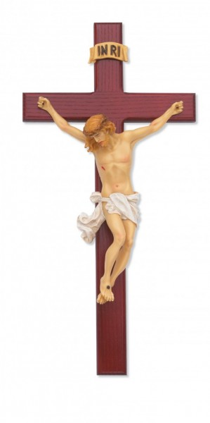 Cherry Stain Crucifix with Hand-painted Corpus, 15 inch - Brown