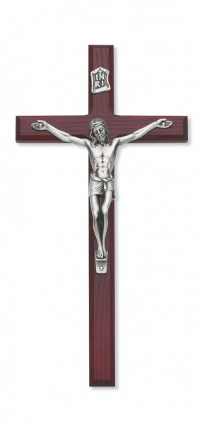 Cherry Stained Beveled Wall Crucifix - 10 inch - Silver