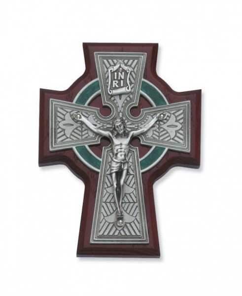 "Cherry Wood Celtic Crucifix - 5.5"" H - Cherry Wood"