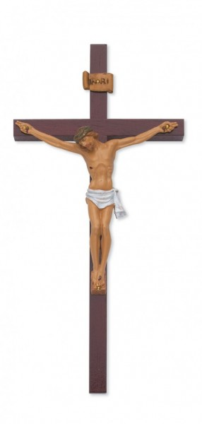 "Cherry Wood Crucifix with Stained Italian Corpus - 10""H - Cherry Wood"