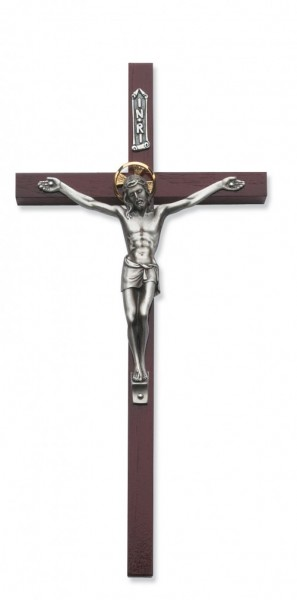 "Cherry Wood Wall Crucifix with Two Tone Corpus - 10""H - Cherry Wood"