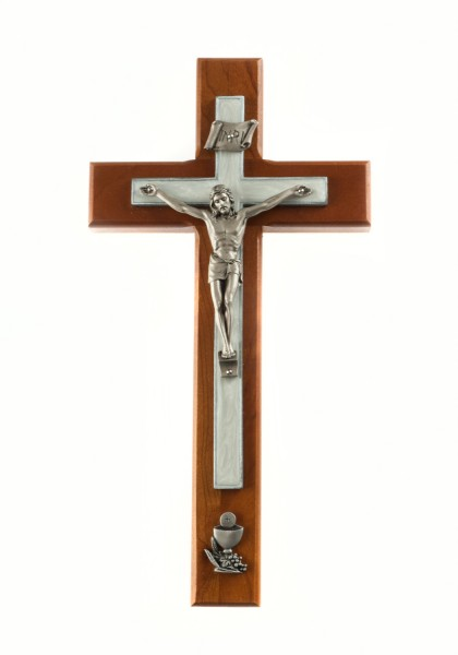 Cherry Wood First Communion Wall Crucifix - 8 inch - Cherry Wood