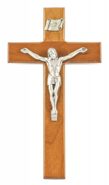 "Cherry Wood Wall Crucifix with Antique Pewter Finish Corpus 10"" - Brown"