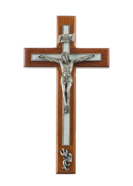 Cherry Wood White Baptism Wall Crucifix - 8 inch - White | Silver