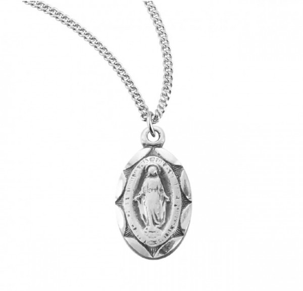 Child Miraculous Medal with Scalloped Border - Sterling Silver