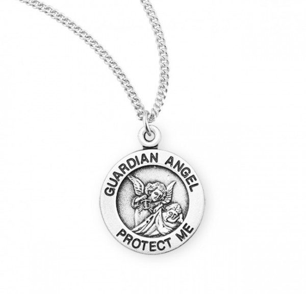 Child's Guardian Angel Protect Me Medal - Sterling Silver