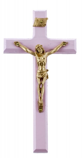 "Child's Wall Cross Hand Painted in Pink with Antique Gold Corpus 6.25"" - Pink"