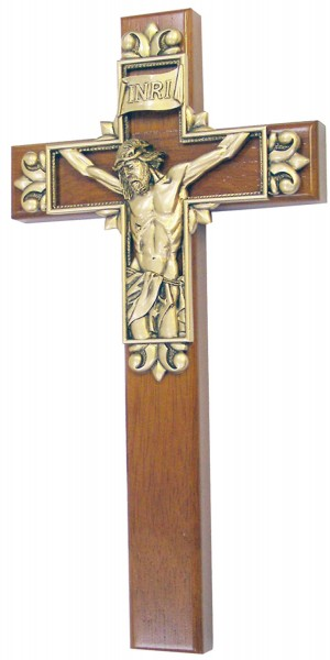 "Christ Cross on Cross Wall Cross with Gold Finish Corpus 10"" - Brown"