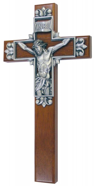 "Christ Cross on Cross Wall Cross with Pewter Corpus 10"" - Brown"