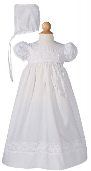 Christening Gown with Rose Lace - White