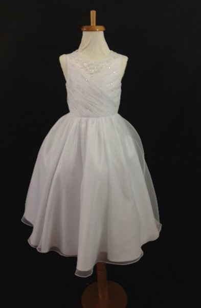 Christie Helene First Communion Dress Diagonal Organza Size 8, 10 - White