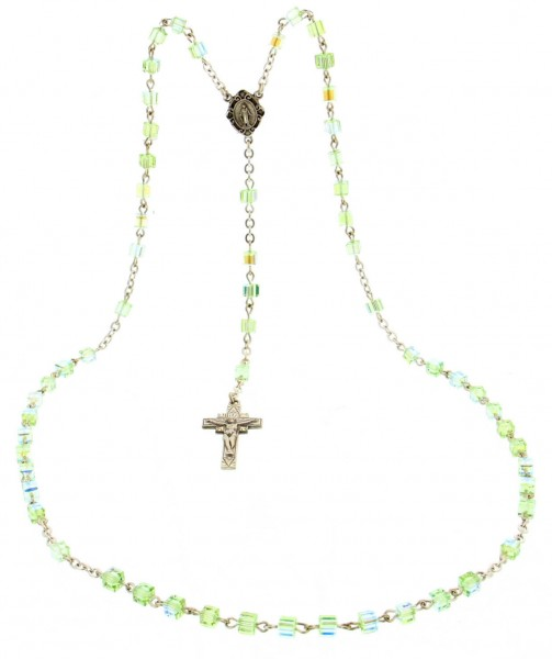 Chrysolite Swarovski Rosary in Sterling Silver - Green