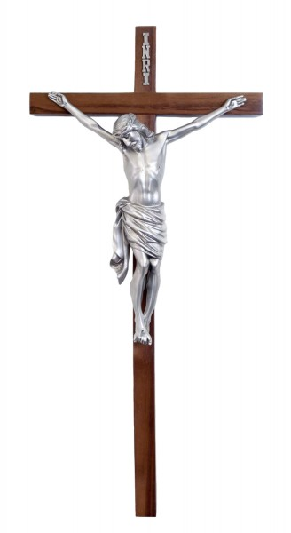 "Church Size Narrow Cross Bar Wall Crucifix in Walnut with 16 Inch Pewter Finish Corpus 34"" - Brown"