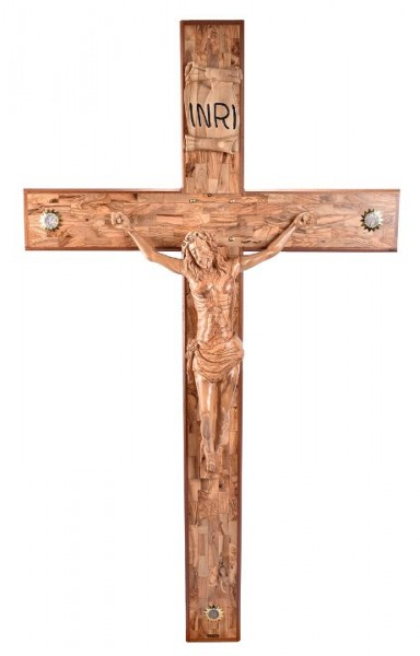 Church Size Olive Wood Crucifix - 6 Foot - Brown