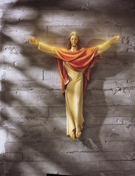 Church Size Risen Christ Cross Statue 24 Inch High Statue - Full Color