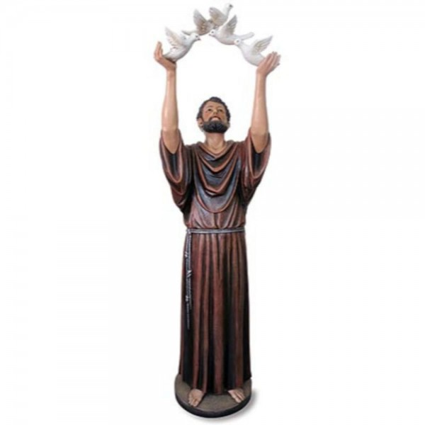 Church Size Saint Francis with Dove 48 Inch High Statue - Full Color