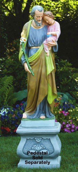 Church Size St. Joseph Statue 54.5 Inches - Detailed Color Finish