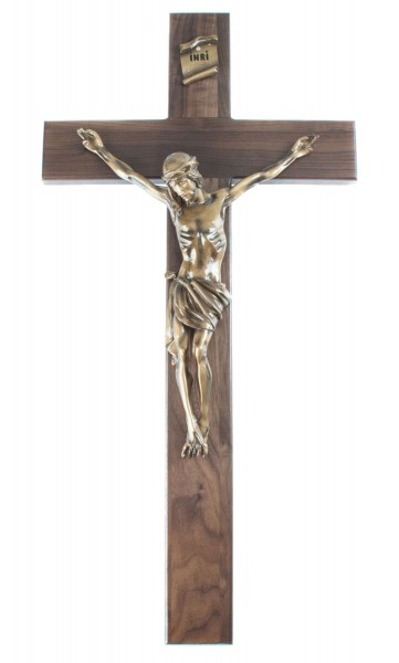 "Church Size Walnut Wall Crucifix with 15 Inch Resin Corpus with Antique Gold Finish 34"" - Brown"