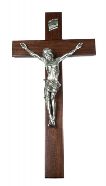 "Church Size Walnut Wall Crucifix with 15 Inch Resin Corpus with Antique Pewter Finish 34"" - Brown"