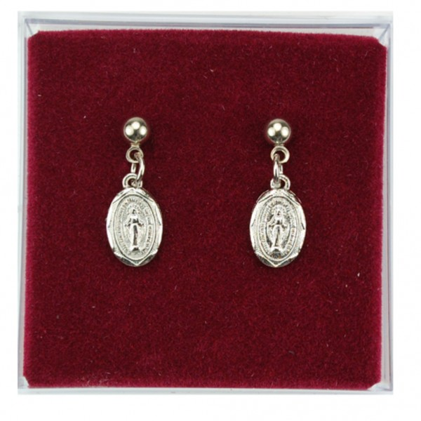 Classic Miraculous Medal Dangle Earrings - Silver tone