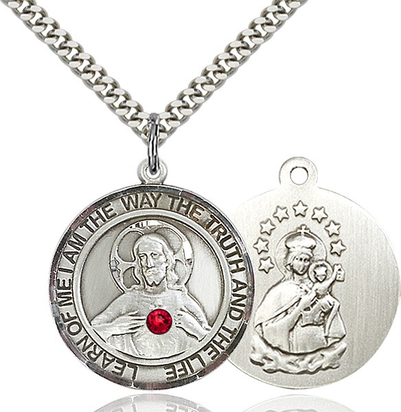 Classic Round Sacred Heart Medal with Birthstone Options - Sterling Silver