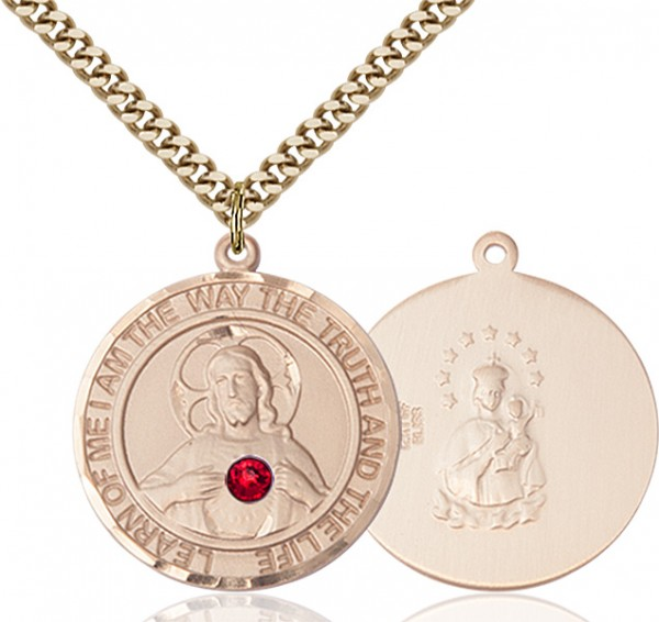 Classic Round Sacred Heart Medal with Birthstone Options - 14KT Gold Filled