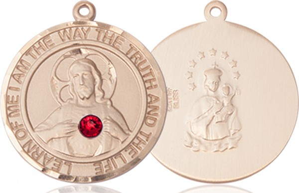 Classic Round Sacred Heart Medal with Birthstone Options - 14K Yellow Gold