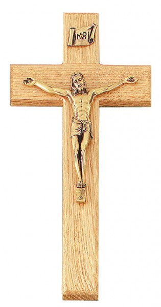 "Clean Line Oak Wall Crucifix with Antique Gold Finish Corpus 10"" - Brown"