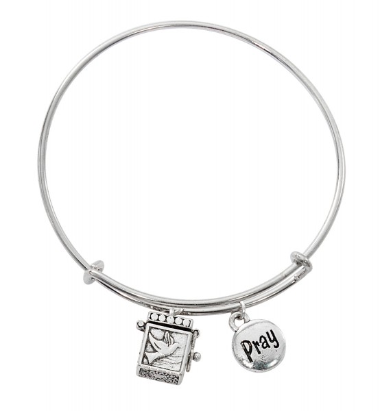 Confirmation Bangle Bracelet with Charms - Silver tone