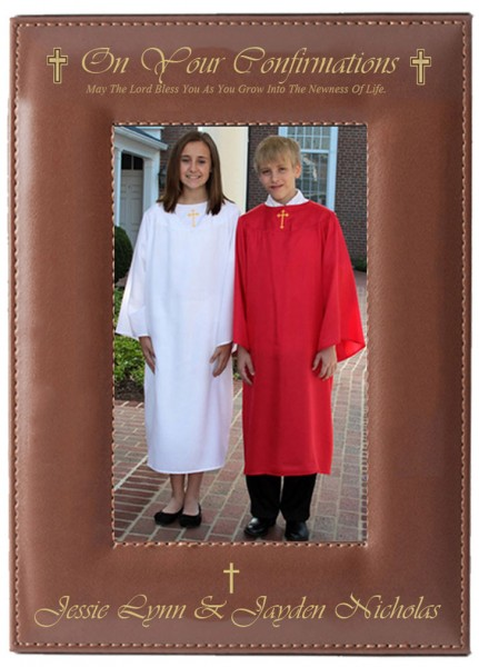 Confirmation Photo Frame Personalized Vertical - Brown