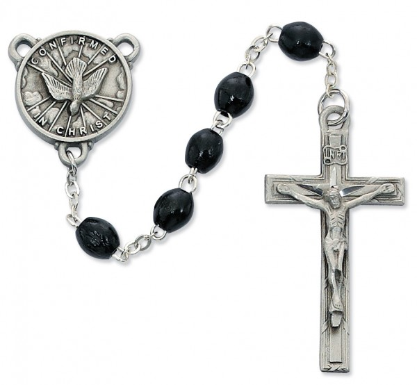 Confirmation Rosary Black Wood Beads 6mm - Black | Silver