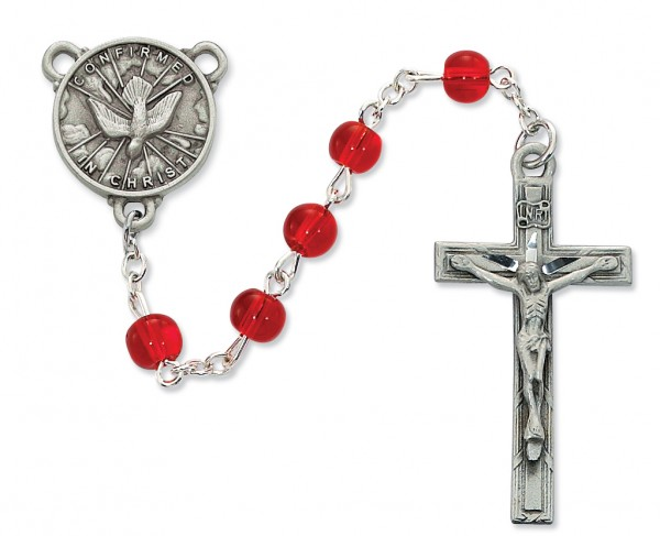 Confirmation Rosary Red Glass Beads 6mm - Red | Silver