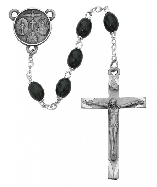 Confirmation Rosary with Black Beads - Black