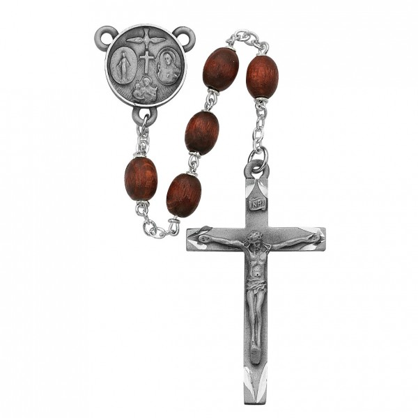Confirmation Rosary with Brown Beads - Brown