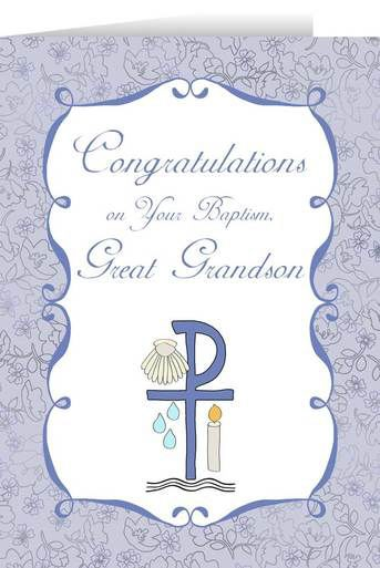 Congratulations on you Baptism Grandson Greeting Card - Blue